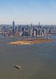 Widok z lotu ptaka Manhattan z gubernator wyspą Zdjęcie Royalty Free