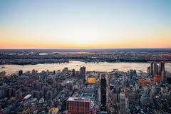 Widok z lotu ptaka Manhattan Zachodni NJ i NY Fotografia Stock
