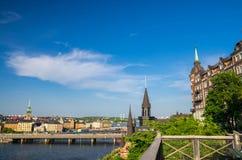 Widok z lotu ptaka Mariahissen, Centralbron most, Sztokholm, szwed zdjęcia royalty free