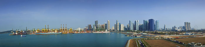 Widok Z Lotu Ptaka Marina zatoka Pagar Singapur i Tangjong fotografia royalty free