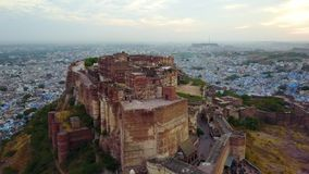 Widok z lotu ptaka mehrangarh fort w Jodhpur, Rajasthan, India zbiory wideo