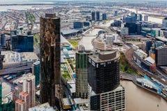 Widok z lotu ptaka Melbourne CBD podczas dnia Fotografia Stock