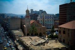 Widok z lotu ptaka Melkite Grecki katolik Archeparchy, Sidon, Liban zdjęcia royalty free