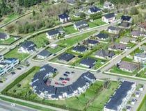 Widok z lotu ptaka miast przedmieścia Obraz Stock