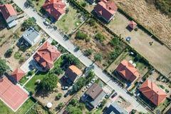 Widok z lotu ptaka miast przedmieścia Obraz Royalty Free