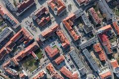 Widok z lotu ptaka miast przedmie?cia zdjęcia royalty free