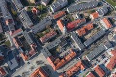 Widok z lotu ptaka miast przedmie?cia zdjęcie stock