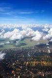 Widok z lotu ptaka miasto i seacoast w południowym Thailand Zdjęcie Stock