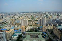 Widok z lotu ptaka miasto, Pyongyang, Korea Zdjęcia Stock