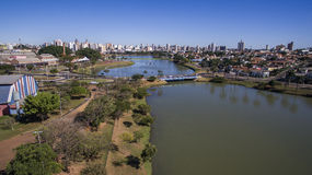 Widok Z Lotu Ptaka miasto Sao Jose robi Rio Preto w Sao Paulo wewnątrz Zdjęcie Royalty Free