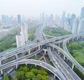 Widok z lotu ptaka miasto wymiana w Shanghai Zdjęcie Stock