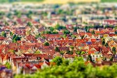 Widok z lotu ptaka miasto z przesunięcie skutkiem Niemcy Zdjęcia Royalty Free