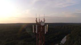 Widok z lotu ptaka mobilny komórkowy telecom wierza zbiory