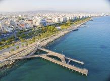 Widok z lotu ptaka Molos, Limassol, Cypr Obrazy Stock