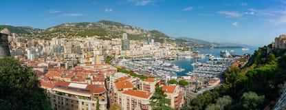 Widok z lotu ptaka Monaco pejzaż miejski z wiele siedziba i dach obrazy stock