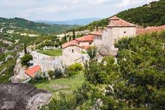 Widok z lotu ptaka monaster Agia Triada Meteor, Trikala region, Grecja Fotografia Stock