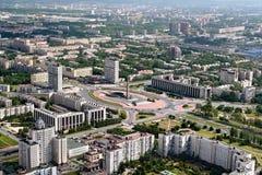 Widok z lotu ptaka Moskwa okręg St. Petersburg, Rosja. Zdjęcie Stock