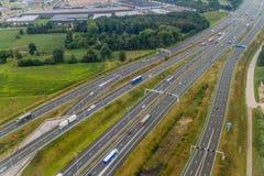 Widok z lotu ptaka multilane autostrada blisko Eindhoven, Netherlan obraz stock