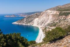 Widok z lotu ptaka Myrtos plaża na Kefalonia wyspie Zdjęcia Royalty Free