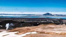 Widok z lotu ptaka Myvatn jezioro Zdjęcia Stock