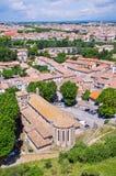 Widok z lotu ptaka na Carcassonne miasteczku. Francja Fotografia Royalty Free