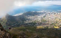 Widok z lotu ptaka na centrum miasta Kapsztad, Południowa Afryka Zdjęcia Stock