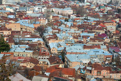 Widok z lotu ptaka na centrum Tbilisi zdjęcie royalty free