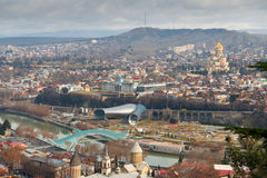 Widok z lotu ptaka na centrum Tbilisi zdjęcia royalty free