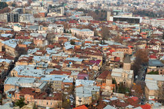 Widok z lotu ptaka na centrum Tbilisi zdjęcia stock