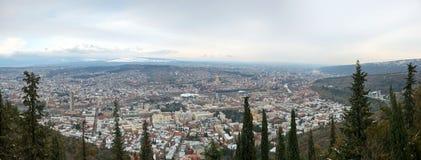 Widok z lotu ptaka na centrum Tbilisi obrazy stock
