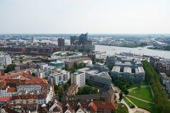 Widok z lotu ptaka na Hamburg Zdjęcia Stock