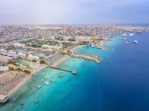 Widok z lotu ptaka na Hurghada miasteczku, Egipt zdjęcie stock