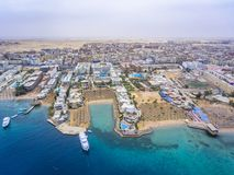 Widok z lotu ptaka na Hurghada miasteczku, Egipt zdjęcie royalty free