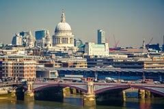 Widok z lotu ptaka na Londyńskim mieście Obrazy Stock