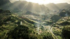 Widok z lotu ptaka na małym miasta Sao Vincente obrazy royalty free