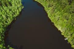 Widok z lotu ptaka na małym jeziorze Fotografia Royalty Free