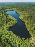Widok z lotu ptaka na małym jeziorze Obraz Stock