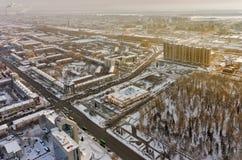 Widok z lotu ptaka na miasto ćwiartkach w Tyumen Rosja Zdjęcie Stock
