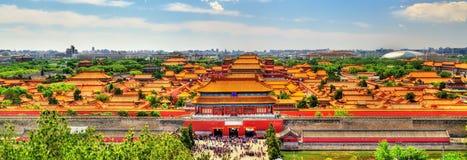 Widok z lotu ptaka na Niedozwolonym mieście od Jingshan parka w Bejing fotografia stock