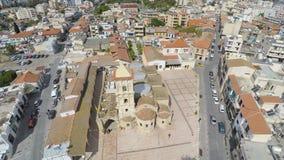 Widok z lotu ptaka na Ortodoksalnym kościół święty Lazarus w Larnaka mieście, Cypr zdjęcie wideo