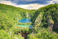 Widok z lotu ptaka na Plitvice jeziorach i siklawach, Chorwacja Obrazy Royalty Free