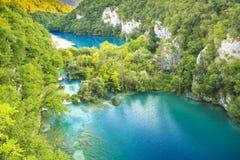 Widok z lotu ptaka na Plitvice jeziorach i siklawach, Chorwacja Fotografia Royalty Free
