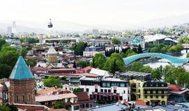Widok z lotu ptaka na ?r?dmie?ciu w Tbilisi, Gruzja obraz royalty free