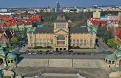Widok z lotu ptaka na starym pałac budynku, kasztel lubi, dziejowy i turystyczny Szczeciński miasto z Hakena Tarasuje fotografia stock