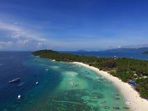 Widok z lotu ptaka na tropikalnej Ko Lipe wyspie Zdjęcia Stock
