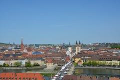 Widok z lotu ptaka na Wuerzburg z obraz royalty free