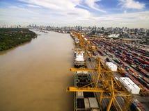 Widok Z Lotu Ptaka Nad Bangkok Dockyard Zdjęcie Stock