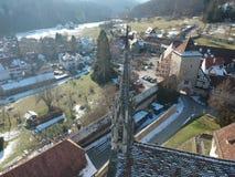 widok z lotu ptaka nad Bebenhausen monasterem Niemcy obraz stock