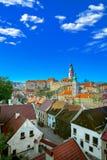 Widok z lotu ptaka nad historycznym centre Chesky Krumlov stary miasteczko w Południowym Artystycznym regionie republika czech na zdjęcie royalty free