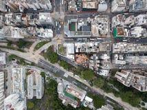 Widok z lotu ptaka nad Kowloon, Podrabiany Shui Po w Hong Kong save w plik-dziennik, zdjęcia stock